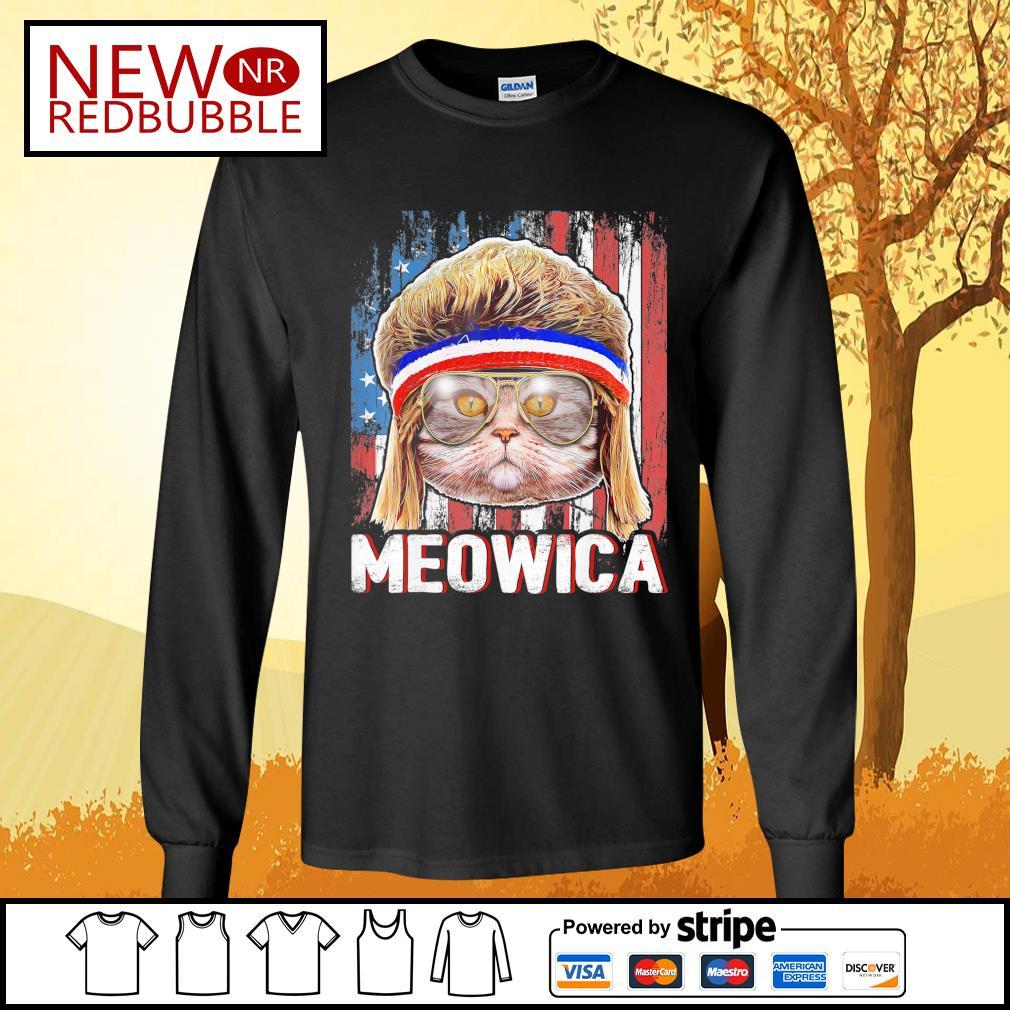 Cat Meowica flag American s Long-Sleeves-Tee