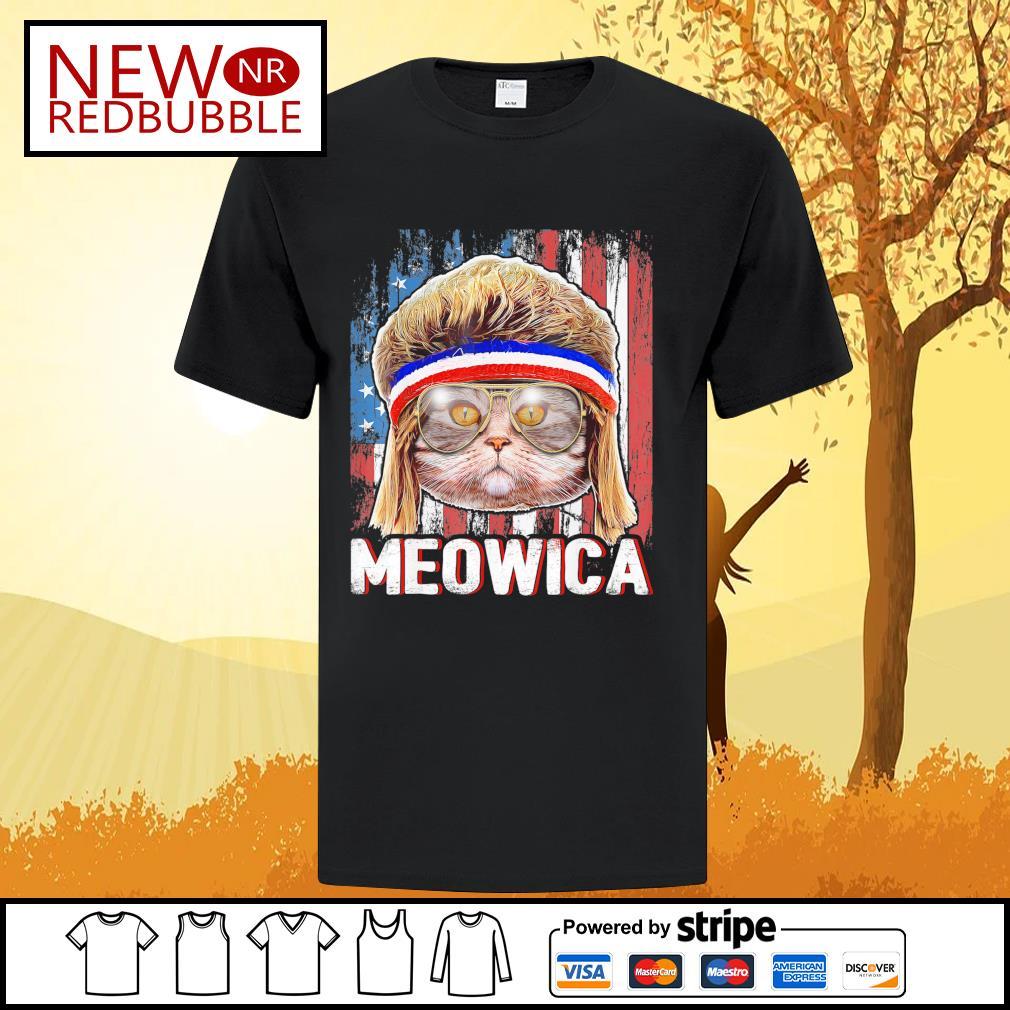 Cat Meowica flag American shirt