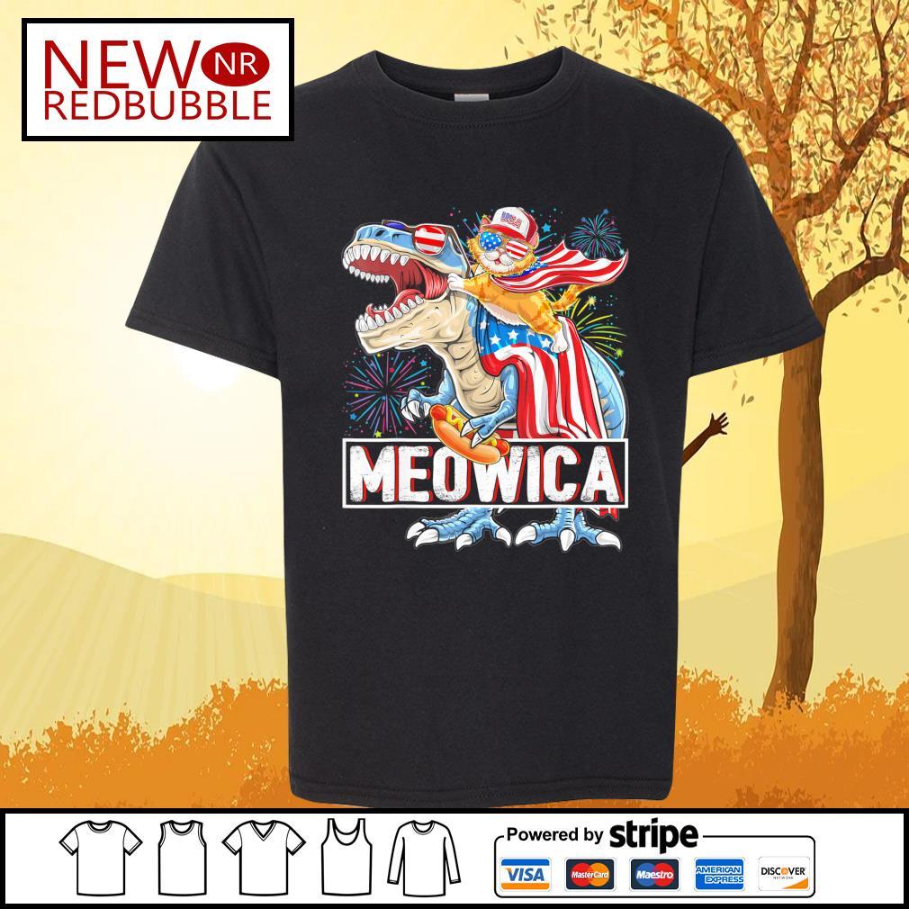 Cat riding T-rex Meowica American s Kid-T-shirt