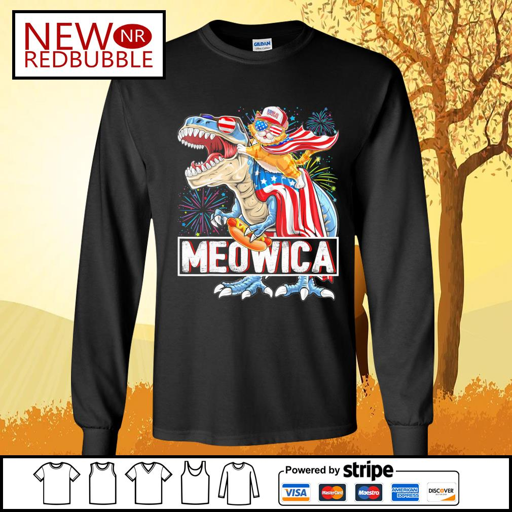 Cat riding T-rex Meowica American s Long-Sleeves-Tee
