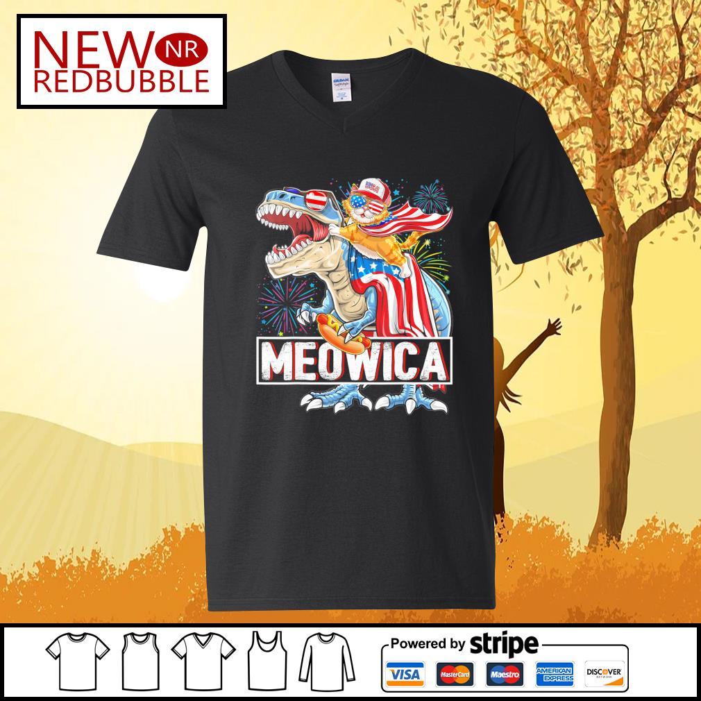 Cat riding T-rex Meowica American s V-neck-T-shirt